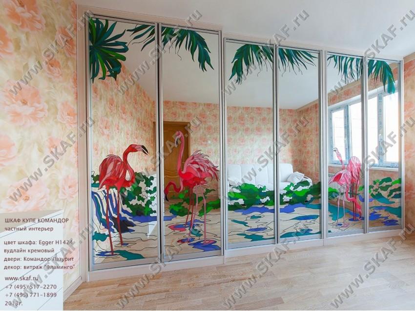 Шкаф-купе с витражами Фламинго